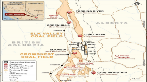 Location map of the Crown Mountain coal project, in canada
