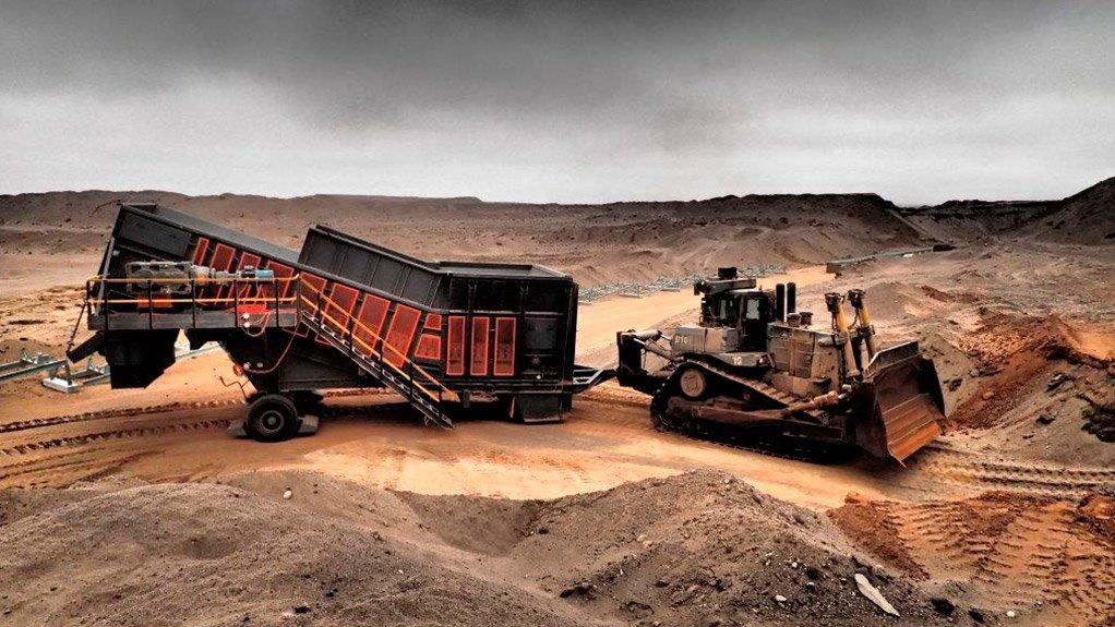 A photo of materials handling equipment at Namdeb's land-based operations