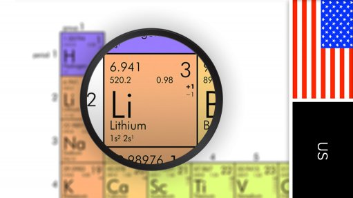 Image of US flag and periodic table symbol for lithium