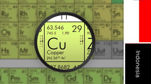 Image of Indonesia flag and periodic table symbol for copper