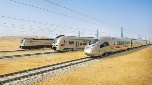 Image of high-speed electric rail line