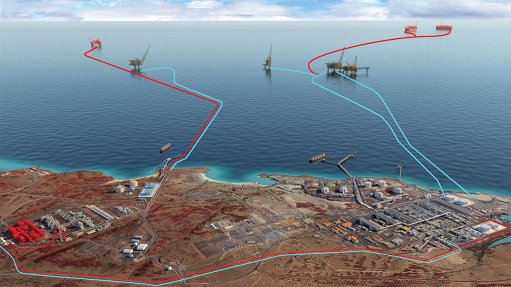 Image of artist's impression of the Scarborough gasfield, in Australia