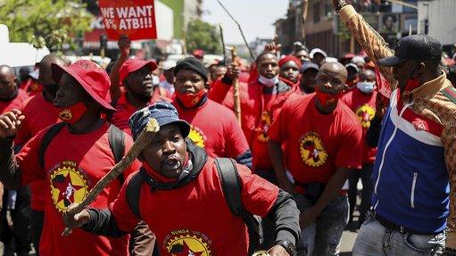 A photo of Numsa members striking