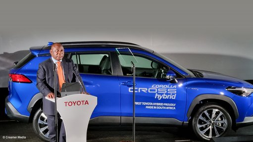 A photo of President Cyril Ramaphosa at the opening of Toyota South Africa Motors' new Corolla Cross production line in KwaZulu-Natal