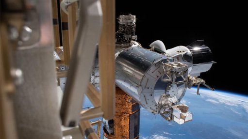 The Bartolomeo platform is visible attached to the lower part of the near end of the cylindrical Columbus Module of the ISS.