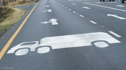 Image of a  painted truck on a road surface