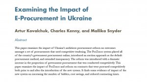 Examining the Impact of E-Procurement in Ukraine
