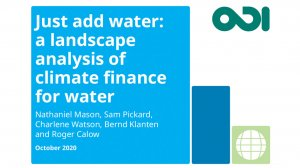 Just add water: a landscape analysis of climate finance for water