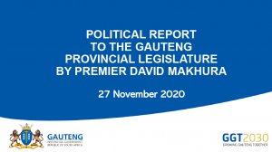 Political Report To The Gauteng Provincial Legislature By Premier David Makhura
