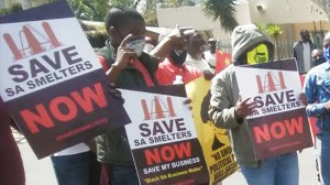 Picture of protestors holding Save SA Smelters placards
