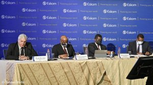 From left to right: Jan Oberholzer, Segomoco Scheppers, Phillip Dukashe and Monde Bala at the Eskom State of the System briefing. CEO Andre de Ruyter was not present as he was travelling to the COP26 climate talks