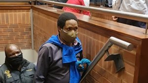 Image of one of the accused in the Senzo Meyiwa murder trial appearing in court